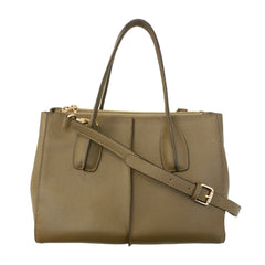 Parisian Double Zip Leather Satchel - Taupe
