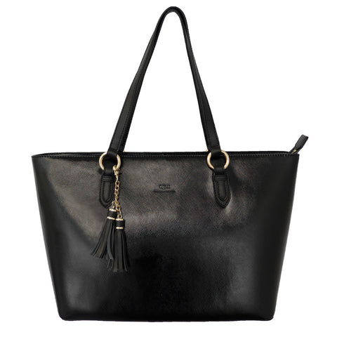Parisian E/W Tote with Tassel Detail - Black