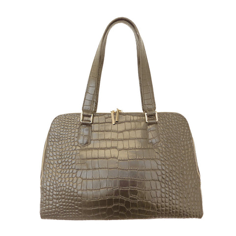 Parisian Dual Zip Croc Leather Satchel - Stone