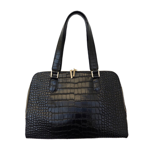 Parisian Dual Zip Croc Leather Satchel - Black