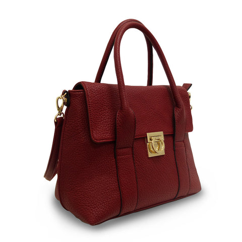 Hint of Brit Medium Work Tote - Dark Red