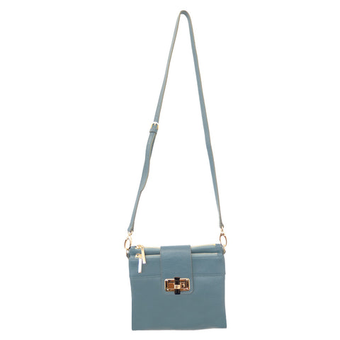 Parisian Double Zip Leather Crossbody - Stone Blue