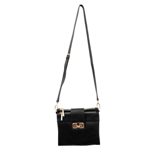 Parisian Double Zip Leather Crossbody - Black