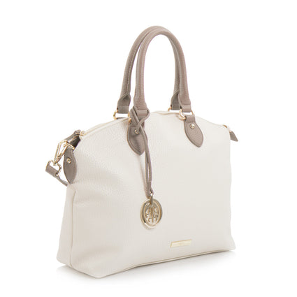 Spring Bliss Colour Block Soft Satchel with Charm - Bone/Taupe