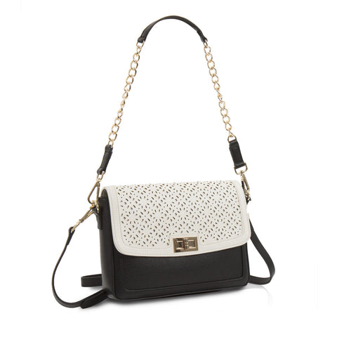 Spring Bliss Colour Block Laser Cut Crossbody w. Turn Lock - Blk/Wht