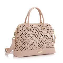 Spring Bliss Laser Cut Satchel w. Double Zip Compartments - Blush