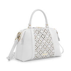 Spring Bliss Laser Cut Doctor's Satchel w. Double Zip Compartments - White