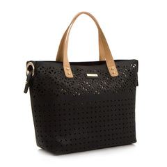 Spring Bliss Laser Cut EW Tote w. Removable Zip Pouch - Blk/Beige