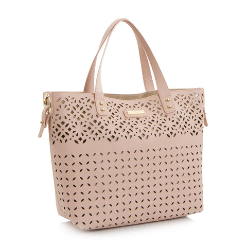Spring Bliss Laser Cut EW Tote w. Removable Zip Pouch - Blush