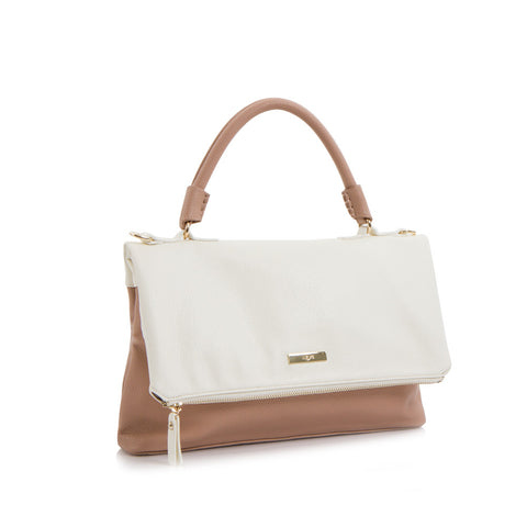 Spring Bliss Colour Block Flapover Crossbody w. Top Handle - White/Rose