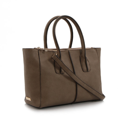 Spring Bliss Double Zip Leather Satchel - Taupe