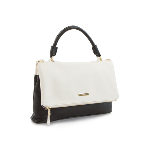 Spring Bliss Colour Block Flapover Crossbody w. Top Handle - White/Black