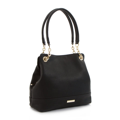 Spring Bliss Shoulder Bag with Partial Chain Handle - Black