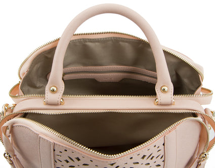 Spring Bliss Laser Cut Doctor's Satchel w. Double Zip Compartments - Blush