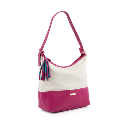 Spring Bliss Colour Block Hobo w. Tassel - Rasp/Wht