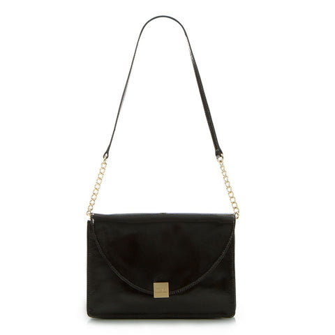 Jewels of Serendib Patent Envelope Shoulder Bag - Black Moonstone