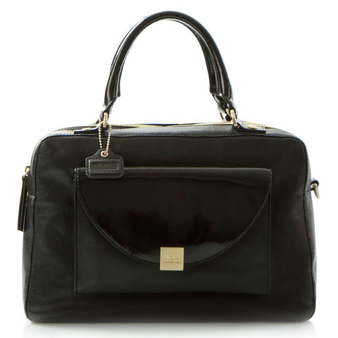 Jewels of Serendib Patent Flap Satchel - Black Moonstone