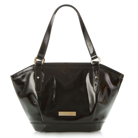 Jewels of Serendib Patent Shoulder Bag - Black Moonstone
