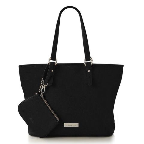 Leather in Colour East/West Tote - Black