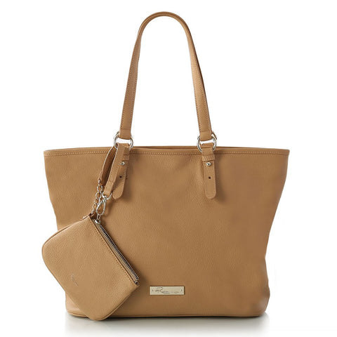 Leather in Colour East/West Tote - Camel