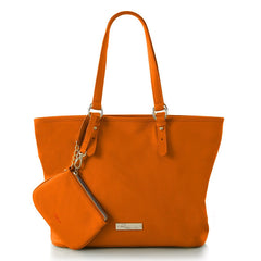 Leather in Colour East/West Tote - Orange