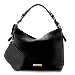 Leather in Colour Hobo Bag - Black