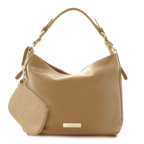 Leather in Colour Hobo Bag - Camel