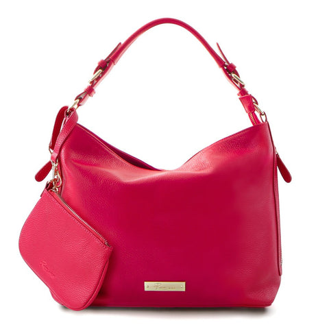 Leather in Colour Hobo Bag - Fushia
