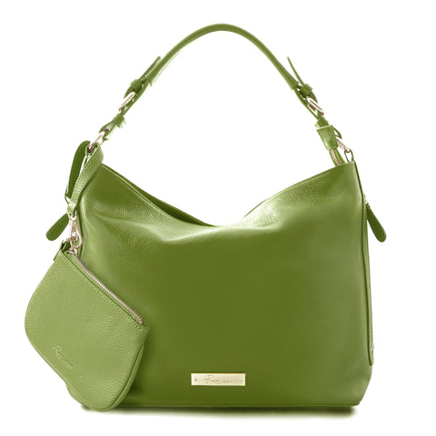 Leather in Colour Hobo Bag - Green