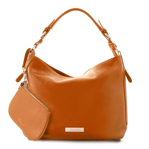 Leather in Colour Hobo Bag - Orange