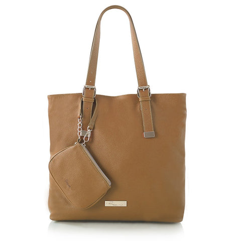 Leather in Colour North/South Tote - Camel