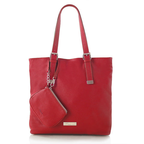Leather in colour North/South Tote - Fuchsia