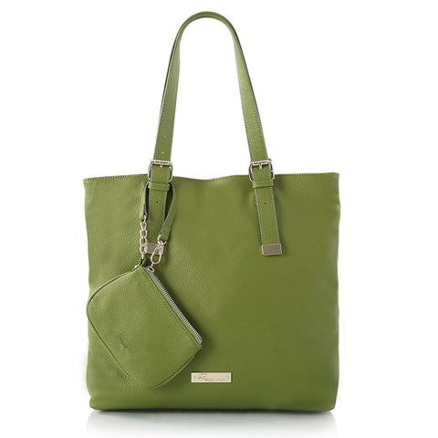 Leather in Colour North/South Tote - Green