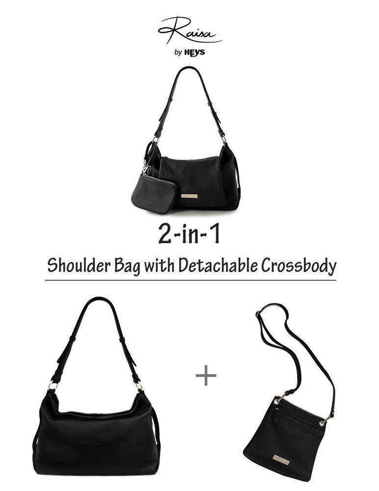 Leather in Colour Shoulder Bag with Detachable Crossbody - Black