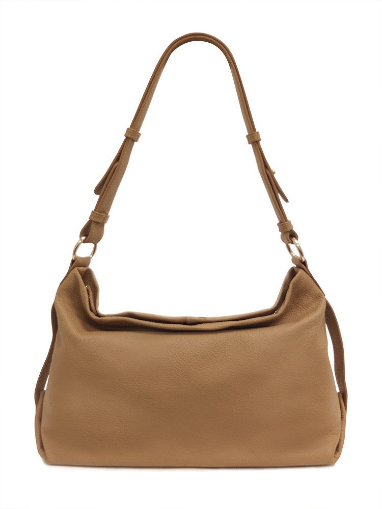 Leather in Colour Shoulder Bag with Detachable Crossbody - Camel