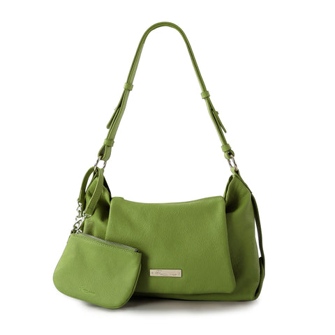Leather in Colour Shoulder Bag with Detachable Crossbody - Green