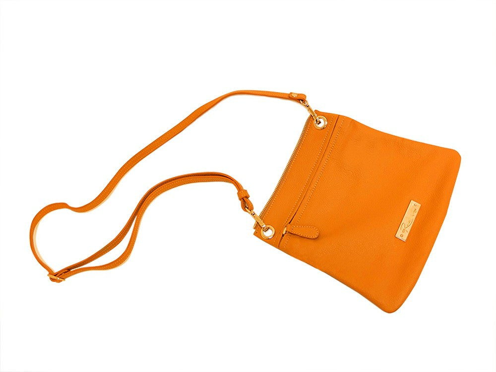 Leather in Colour Shoulder Bag with Detachable Crossbody - Orange