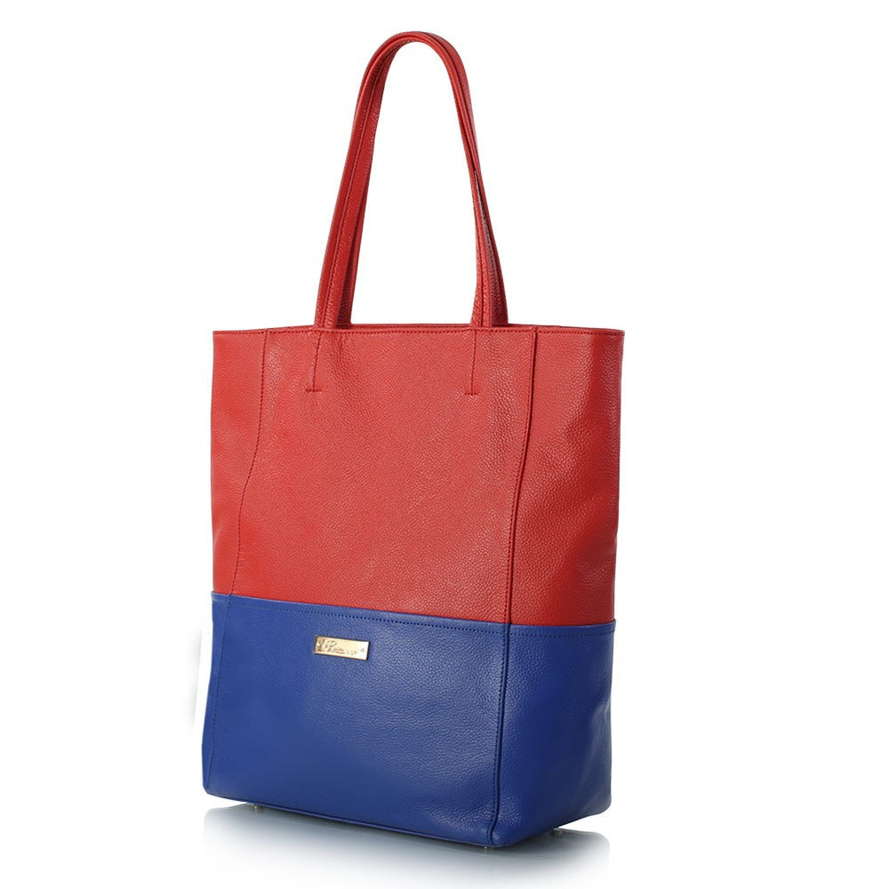 Saint-Tropez Colour Blocked Tote - Poppy/Periwinkle