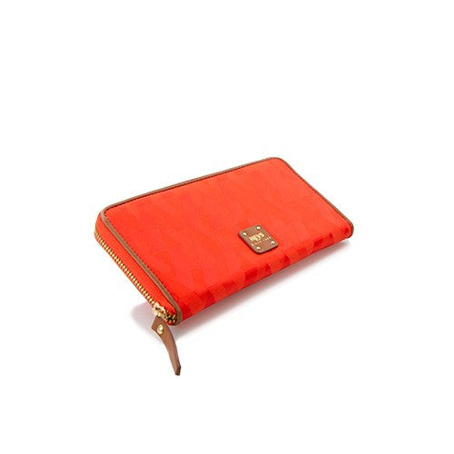Signature Jacquard Nylon Zippered Wallet - Orange