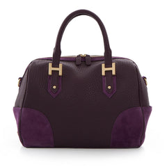 Soho Classic Leather/Suede Small Satchel - Purple
