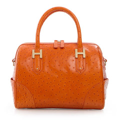 Soho Classic Ostrich Small Satchel - Orange