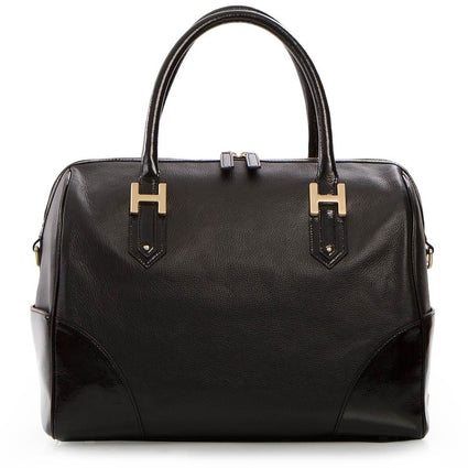 Soho Classic Pebbled/Patent Large Satchel - Black