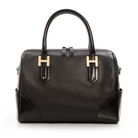 Soho Classic Pebbled/Patent Small Satchel - Black