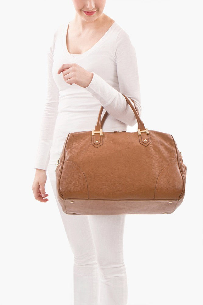 Soho Classic Two-Tone Large Satchel - Bone/Taupe