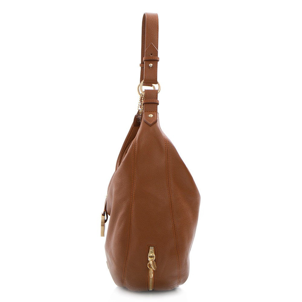 Soho Expandable Leather Large Hobo Bag - Tan