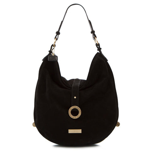Soho Expandable Suede Large Hobo Bag - Black