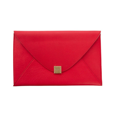 Soho Leather Oversized Envelope Clutch - Poppy
