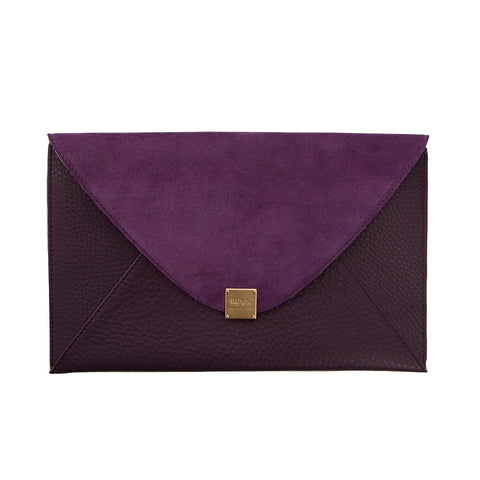 Soho Leather/Suede Oversized Envelope Clutch - Purple