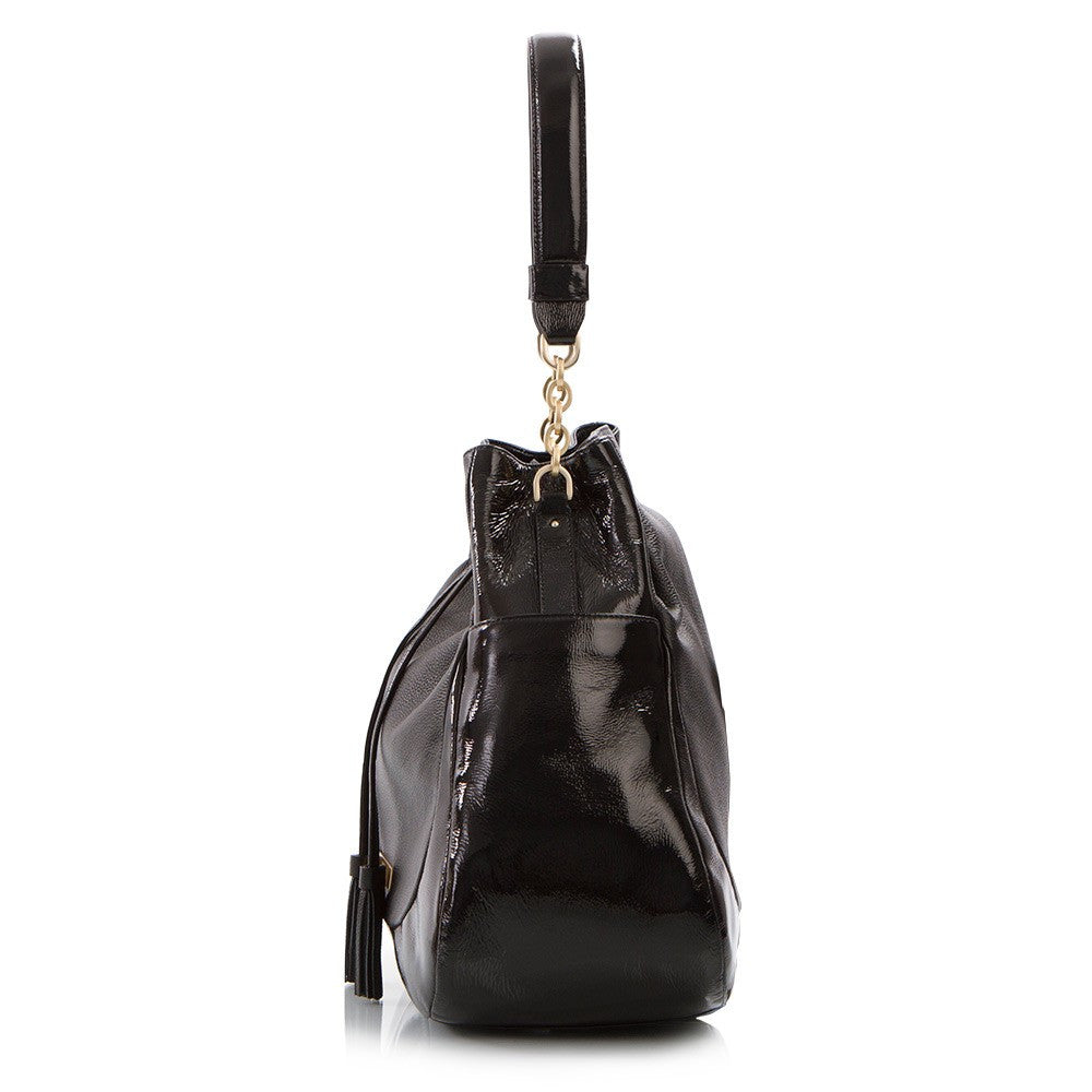 Soho Pebbled/Patent Large Drawstring Bag - Black