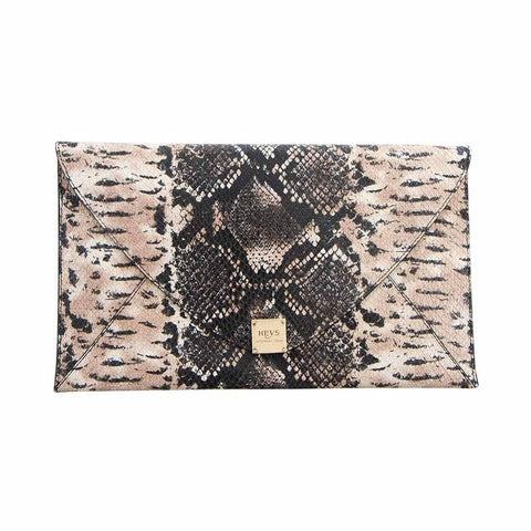 Soho Printed Snake Oversized Envelope Clutch - Brown/Black Snake